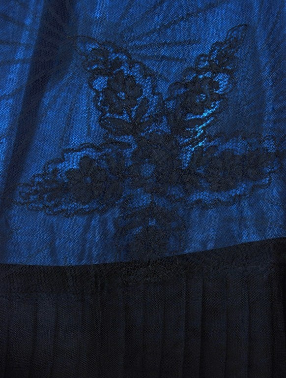 1950's Rosita Contreras Couture Black Blue Chantilly-Lace Dress 5