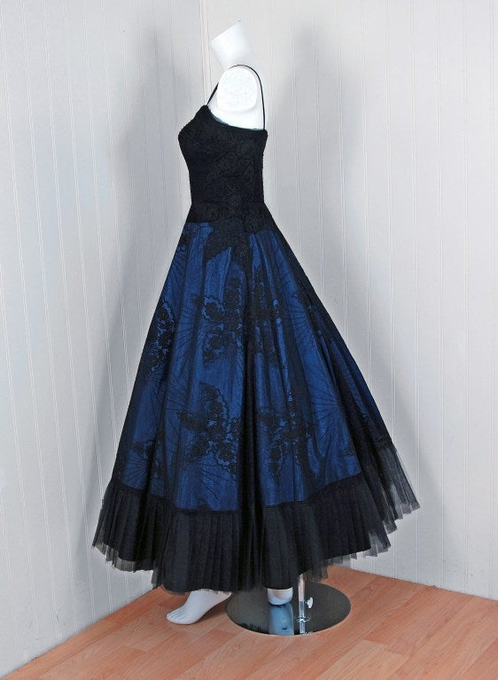 1950's Rosita Contreras Couture Black Blue Chantilly-Lace Dress 6