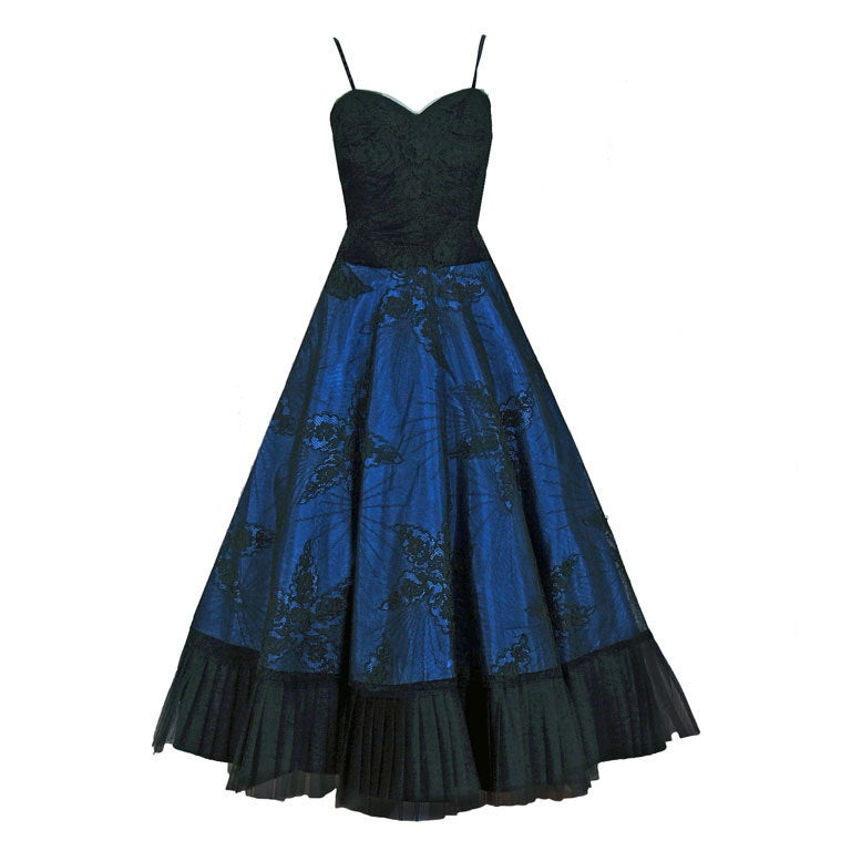 1950's Rosita Contreras Couture Black Blue Chantilly-Lace Dress 1