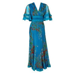 1960's Jacques Heim Blue-Floral Silk Flutter-Sleeve Long Gown