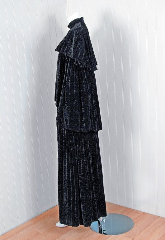 1970's Thea Porter Couture Black Sillk-Velvet Tiered Cape Coat 2