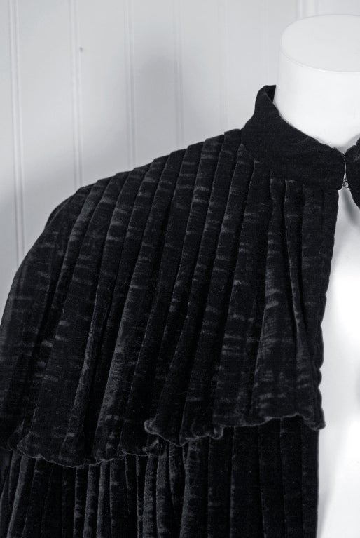1970's Thea Porter Couture Black Sillk-Velvet Tiered Cape Coat 3