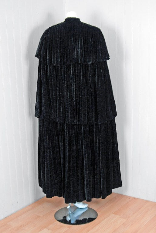 1970's Thea Porter Couture Black Sillk-Velvet Tiered Cape Coat 4