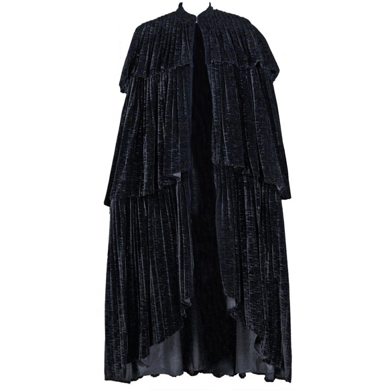 1970's Thea Porter Couture Black Sillk-Velvet Tiered Cape Coat 1