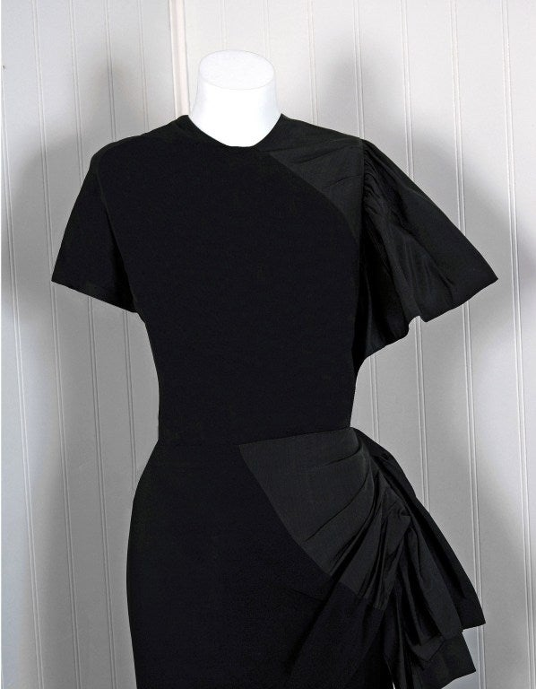 1949 Adrian Original Black Silk & Crepe Asymmetric Draped Gown 2