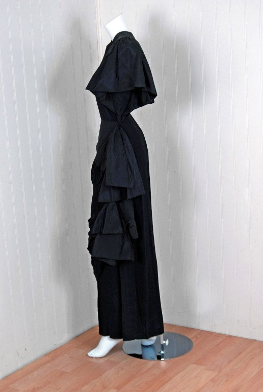 1949 Adrian Original Black Silk & Crepe Asymmetric Draped Gown 3