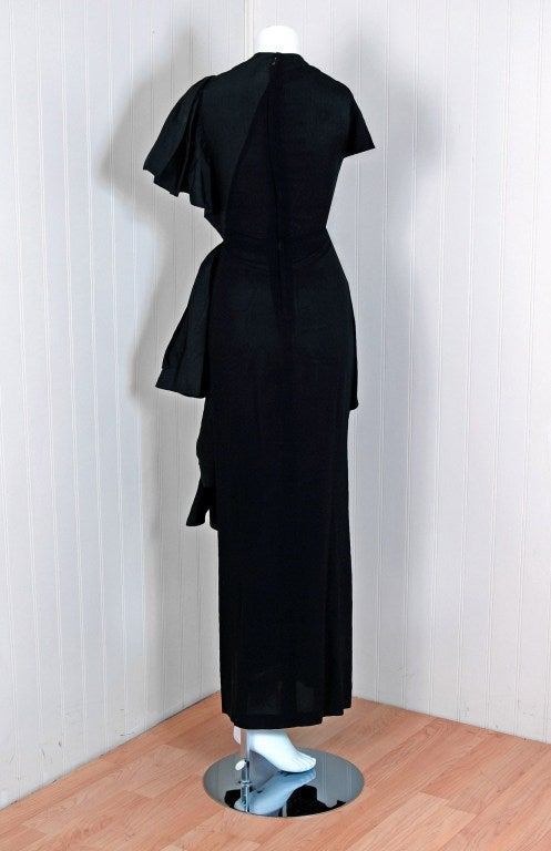 1949 Adrian Original Black Silk & Crepe Asymmetric Draped Gown 4