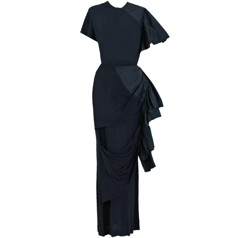 1949 Adrian Original Black Silk & Crepe Asymmetric Draped Gown