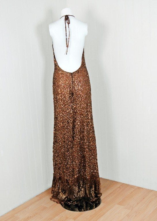 1990's Valentino Couture Metallic Bronze Sequin Backless Gown 5