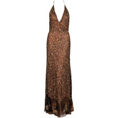 1990's Valentino Couture Metallic Bronze Sequin Backless Gown
