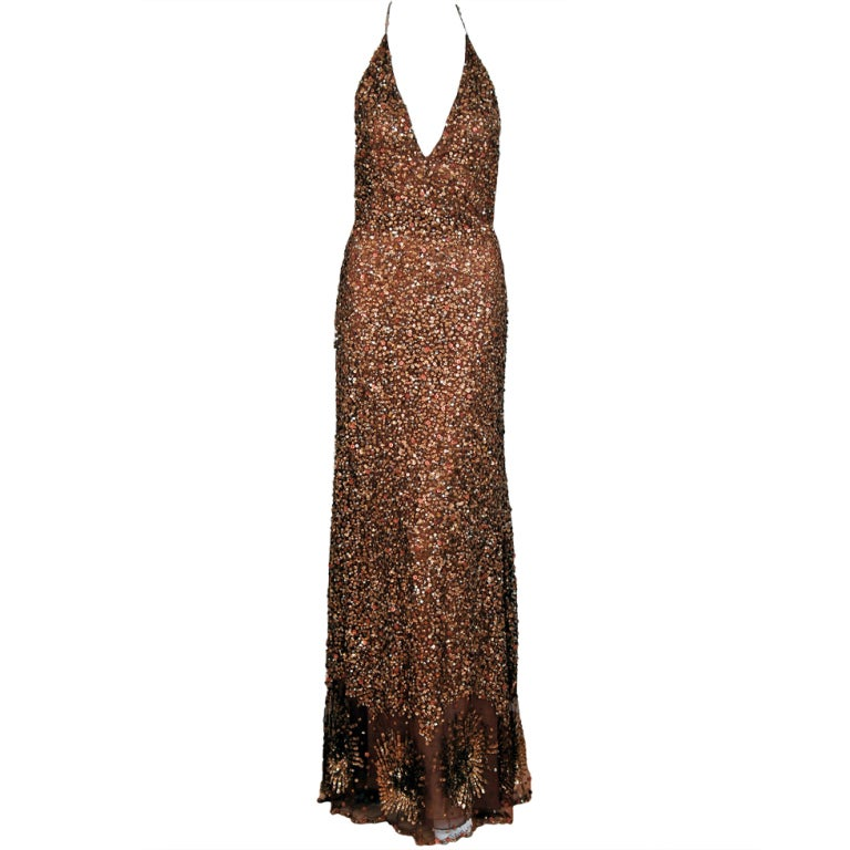 1990's Valentino Couture Metallic Bronze Sequin Backless Gown 1
