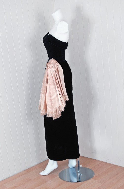 1949 christian dior haute couture black velvet dress skirt for Dior couture dress price