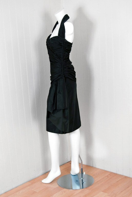 Women's 1970's Vicky Tiel Black Ruched Silk Halter Wiggle Cocktail Dress For Sale