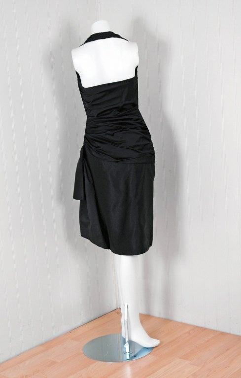 1970's Vicky Tiel Black Ruched Silk Halter Wiggle Cocktail Dress For Sale 1