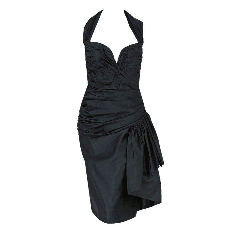 1970's Vicky Tiel Black Ruched Silk Halter Wiggle Cocktail Dress For Sale