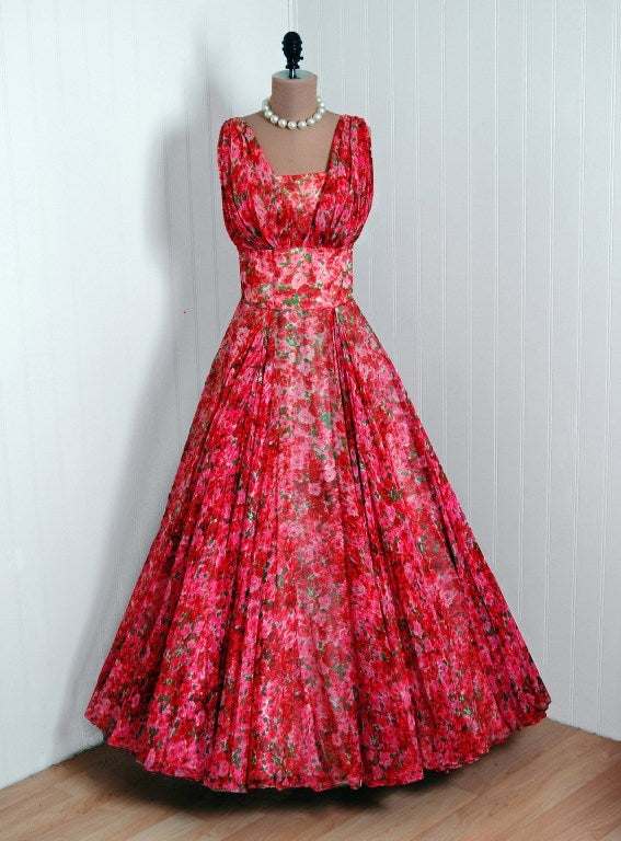 1950's Watercolor Red & Pink Roses Floral Silk-Chiffon Gown 2
