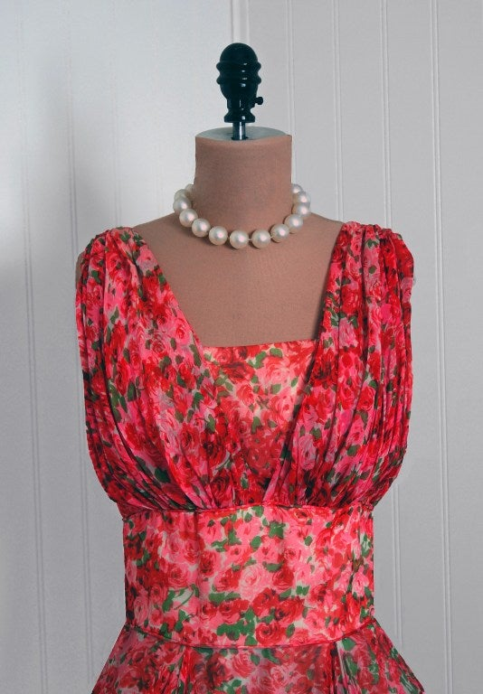1950's Watercolor Red & Pink Roses Floral Silk-Chiffon Gown image 3