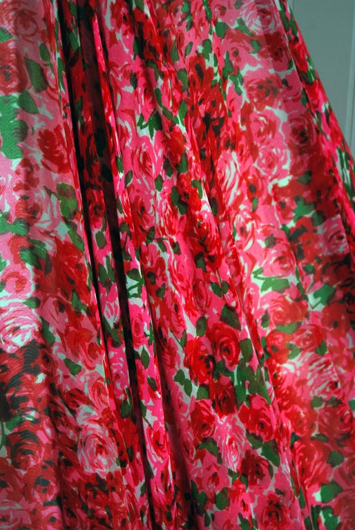1950's Watercolor Red & Pink Roses Floral Silk-Chiffon Gown 4