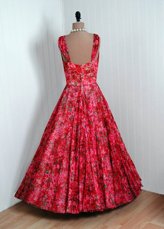 1950's Watercolor Red & Pink Roses Floral Silk-Chiffon Gown image 5