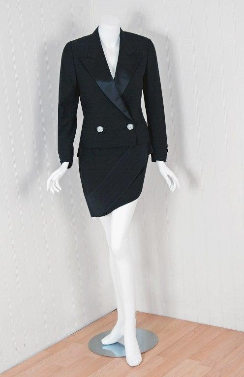 1990 S Gianni Versace Couture Asymmetric Tuxedo Mini Skirt