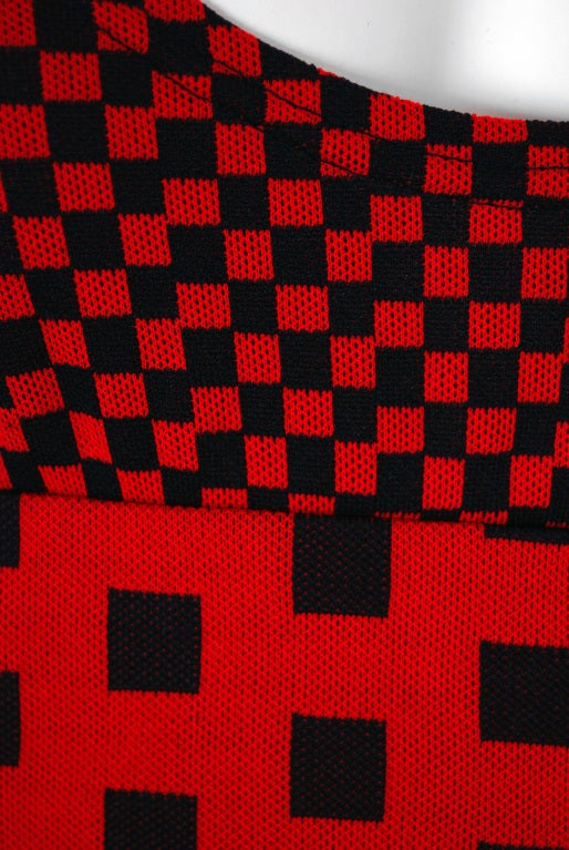 1971 Rudi Gernreich Op-Art Red & Black Checkered Graphic Dress 3