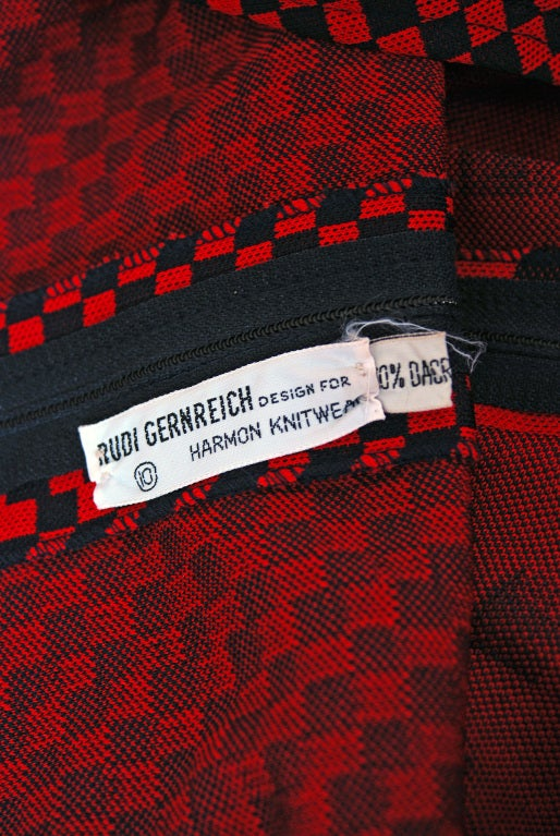 1971 Rudi Gernreich Op-Art Red & Black Checkered Graphic Dress 6