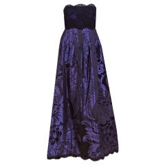 1970's Geoffrey Beene Purple Print Silk & Lace Strapless Gown