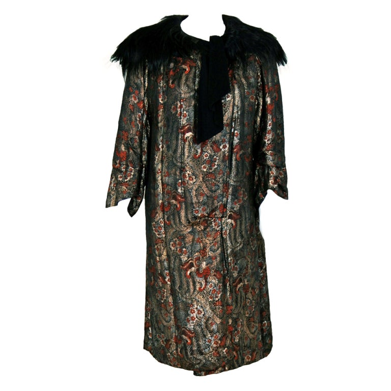 1920's French Haute-Couture Metallic-Lame & Monkey-Fur Flapper Evening Coat 1