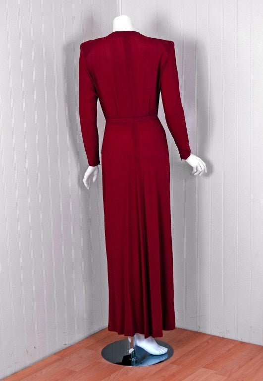 1940's Gothe Beaded Sparrow Birds Raspberry-Red Crepe Gown 4