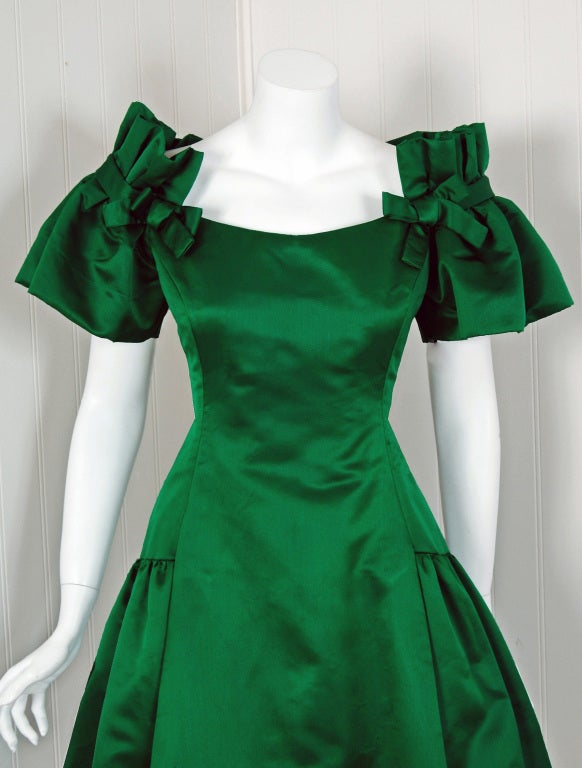 1980's Scaasi Emerald-Green Satin Nipped-Waist Cocktail Dress image 2