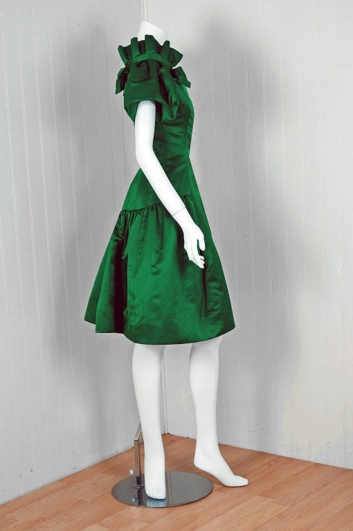 1980's Scaasi Emerald-Green Satin Nipped-Waist Cocktail Dress image 4