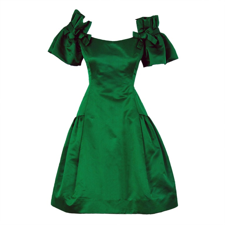 1980's Scaasi Emerald-Green Satin Nipped-Waist Cocktail Dress
