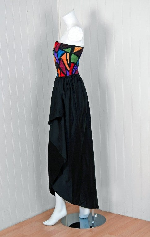 Women's 1970's Chloe by Karl Lagerfeld Rainbow Satin Strapless Draped Hourglass Gown For Sale