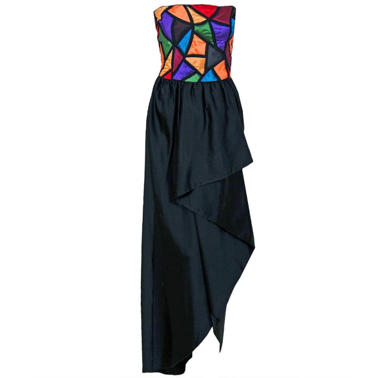 1970's Chloe by Karl Lagerfeld Rainbow Satin Strapless Draped Hourglass Gown For Sale