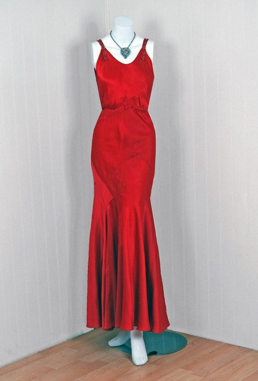 1930's Seductive Bias-Cut Red Rhinestone Satin Hourglass Gown 2