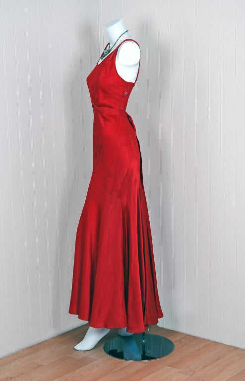 1930's Seductive Bias-Cut Red Rhinestone Satin Hourglass Gown 3