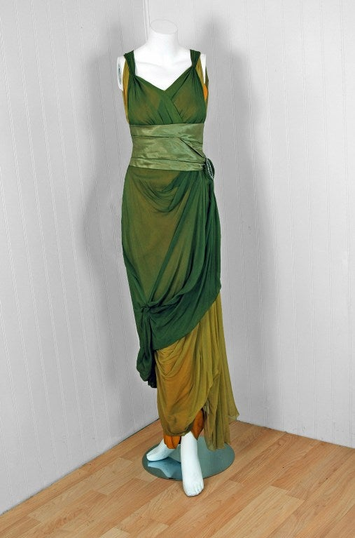1910's Edwardian Sage-Green & Golden Silk Chiffon Asymmetric Draped Gown 2