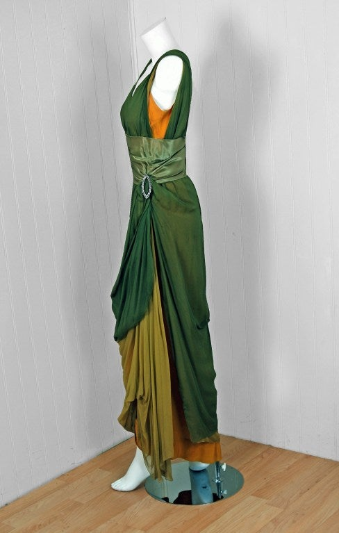 1910's Edwardian Sage-Green & Golden Silk Chiffon Asymmetric Draped Gown 3