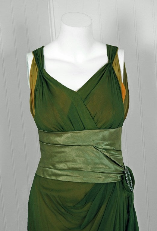 1910's Edwardian Sage-Green & Golden Silk Chiffon Asymmetric Draped Gown image 4
