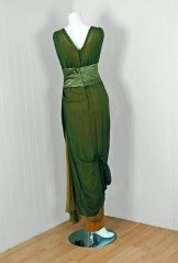 1910's Sage-Green & Golden Silk Chiffon Asymmetric Draped Gown thumbnail 6