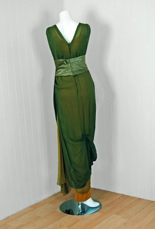 1910's Edwardian Sage-Green & Golden Silk Chiffon Asymmetric Draped Gown 6