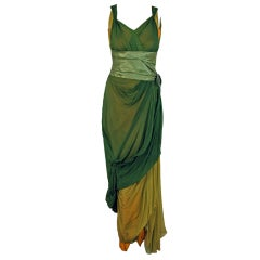 1910's Sage-Green & Golden Silk Chiffon Asymmetric Draped Gown thumbnail 1