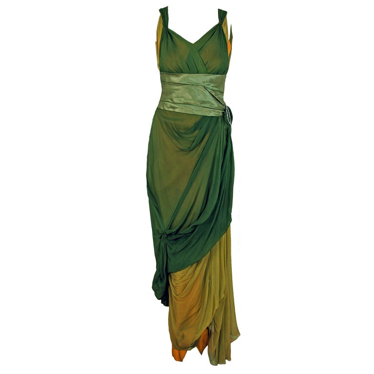 1910's Edwardian Sage-Green & Golden Silk Chiffon Asymmetric Draped Gown