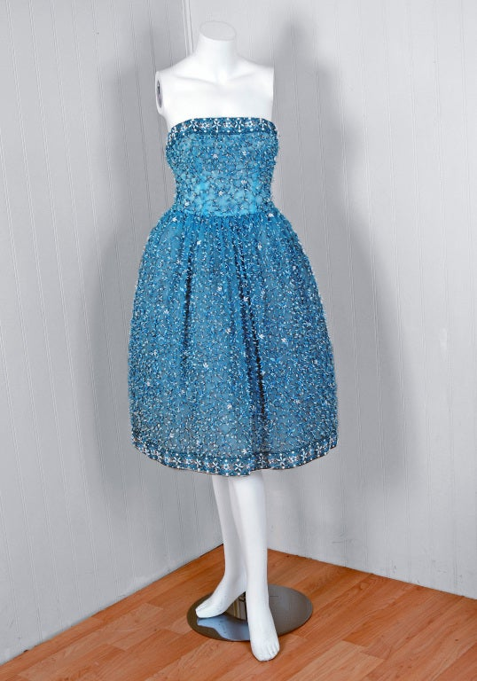 1950's Bob Bugnand Paris Beaded Baby-Blue Strapless Party Dress 2