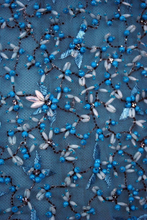 1950's Bob Bugnand Paris Beaded Baby-Blue Strapless Party Dress image 4