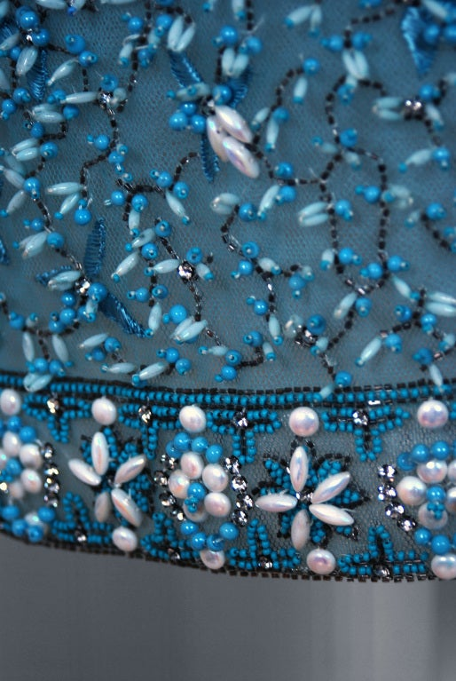 1950's Bob Bugnand Paris Beaded Baby-Blue Strapless Party Dress image 5