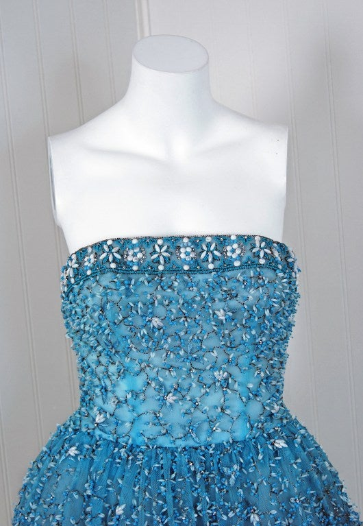1950's Bob Bugnand Paris Beaded Baby-Blue Strapless Party Dress image 6