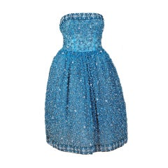1950's Bob Bugnand Paris Beaded Baby-Blue Strapless Party Dress