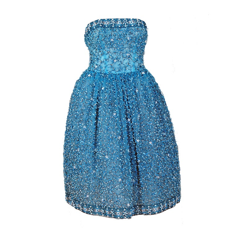 1950's Bob Bugnand Paris Beaded Baby-Blue Strapless Party Dress 1