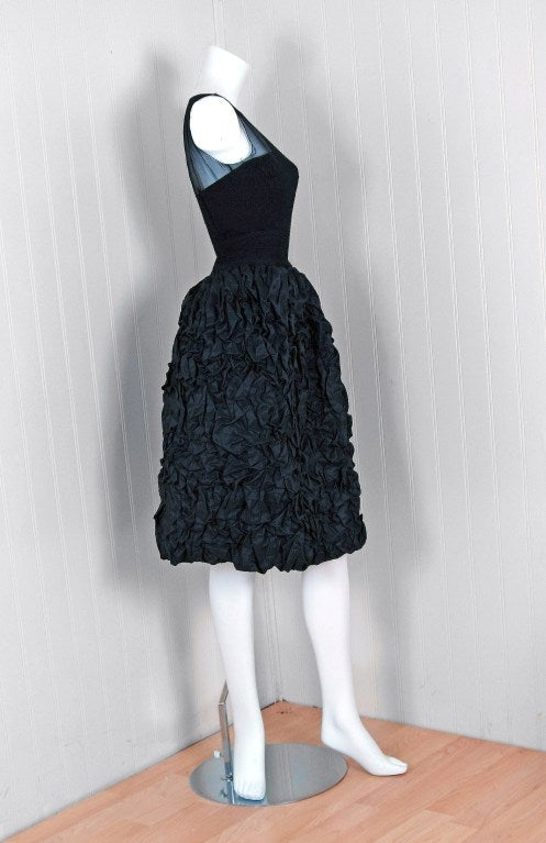 1950's Black Silk-Chiffon & Taffeta Heavily-Ruched Party Dress 2